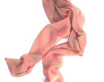 magenta and emerald iridescent silk scarf or neck bow