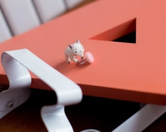 Kawaii Kitty / Puppy Cat Earring / Pink stud