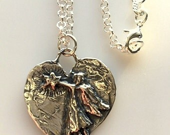 Sterling Silver Heart With Angel and Star Pendant Necklace - Guardian Angel Heart Pendant - Artisan Silver Reach For The Stars