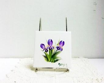Ceramic Tile, White, Iris, Hand Painted, Garden Design, Flower Design, Tile Coaster, Wall Decor, Wall Art, Decorative Tile, Art Tile,  Home.