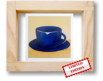 Art prints Blue coffee cup Coffee cup print Kitchen art decor Contemporary modern art print  Limited Edition Wedding gift ideas