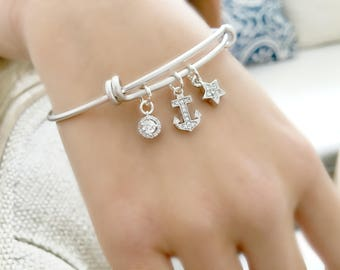 Cz Charm Bangle Cz star anchor cubic zirconia bangle cz jewelry april gold bangle beach wedding pave charm bracelet silver bangle anchor