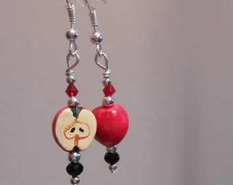 Tiny Painted Clay Apple Earrings Perfect for a Teacher Item No. 691
