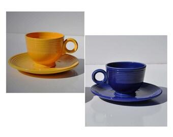 "Vintage Fiestaware Cup Saucer Set, Choose Cobalt Blue or Yellow, Older ""Ring"" Style Handle, 1930's - 50's Vintage Homer Laughlin Fiesta Ware"
