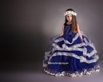 Navy Blue Couture Flower Girl Dress, Navy Pageant Dress, Navy Tutu Dress, Navy and Lace Flower Girl Dress, Couture Tutu Dress, Tutu Dress