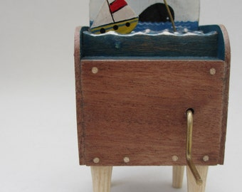 Sailing Boat, Seagull and Whale - wood and tinplate automata