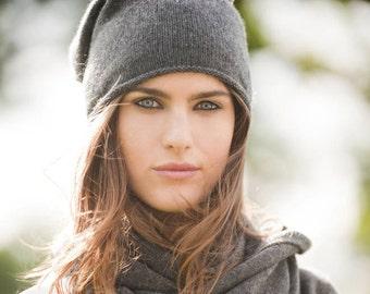 Cashmere blend beanie hat, women, hand knit