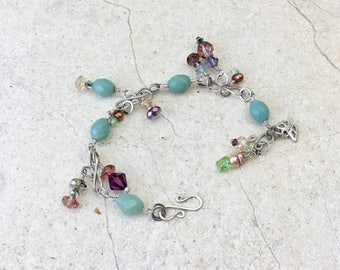Artisan Made Sterling Silver Hammered Wire Amazonite Bracelet with Czech Glass, Swarovski Crystals, Aqua and Pastels, Spring, Summer