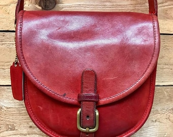 RARE Vintage Coach Small Crossbody Satchel Vtg Red Leather Shoulder Bag Made in New York City, USA