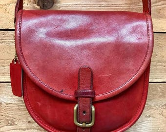 Vintage Coach Small Crossbody Satchel Vtg Red Leather Shoulder Bag Made in New York City, USA