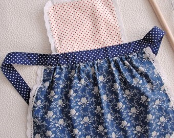 Kids Aprons, Childrens Aprons, Girls Aprons Set, Toddler Pinny, Childs Apron, Polka Dot Floral Bib Apron, Blue Party Apron, Gifts for Girls