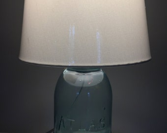 Antique Green Mason Jar Lamp