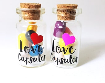 Love Capsules- Bottle Charm ,Love Pills, Hidden Message, Kawaii Pills, Bottle charm, Message in a bottle, Valentines gift