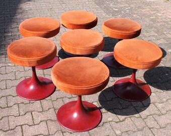 60s 70s Original Vintage Tulip Stool Tabouret Mid Century Modern Design Solid Space Age Object Burgundy Iron Heavy Base Orange Seat 1960s