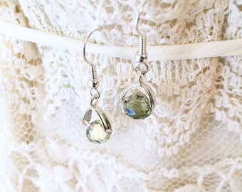 Gifts For Her, Green Earrings, Gifts Under 5, Dangle and Drop Earrings, Faceted Earrings, Boho Earrings, Glam Earrings, Gifts For Coworkers