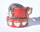 Vintage Red Band Silver Heart Conchos Studded Belt Leather Shop Small