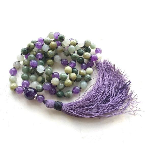 Amethyst Mala Bead Necklace, Quartz and Amethyst Mala, Festive Mala Beads, Unique Green & Purple Mala Necklace, Healing Mala Beads