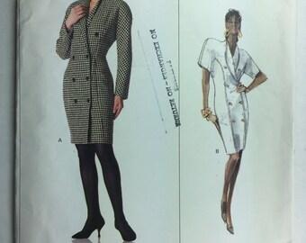 Vintage 1980's Vogue 2138 American Designer Calvin Klein Misses' Double Breasted Dress size 8 Uncut