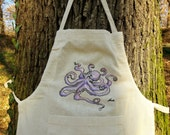 Octopus apron, Hand painted apron, Violet octopus, Designers apron, Lace cotton apron, Gray apron, Unique Apron, Mediterranean apron