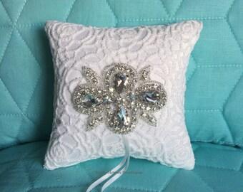 Rhinestone Ring Pillow-Ring Bearer Pillow-Ring Cushion-Crystal Ring Pillow-Wedding Ring Pillow-Rhinestone Applique Light Ivory Ring Pillow