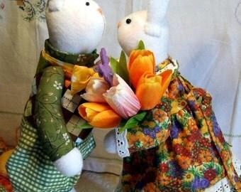 """Textile bunnies """"Daniel & Marie"""" MarSi design"""