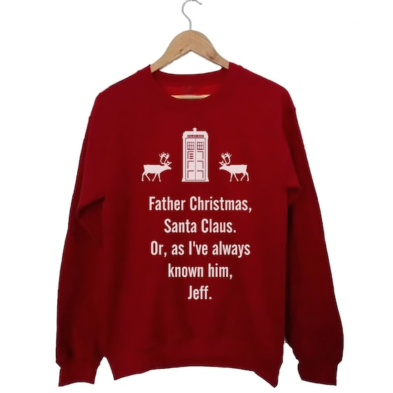 Dr Who Christmas jumper. Christmas Sweater shirt Christmas Gift Whovian (a fan of Dr Who), white print