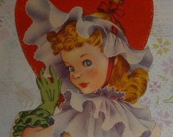 Pretty Girl - When I See You, I Get All Ruffled Up  Vintage Valentine Card