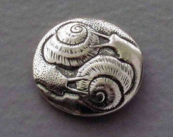 Sterling Silver Shank Button - Two Snails - B914