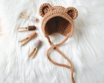 Bear Bonnet, Bear Hat, Baby Bear Bonnet, Baby Bear Hat, Newborn Bear Hat, Newborn Bear Bonnet, Newborn Photography Prop, Take Home Hat, Bear