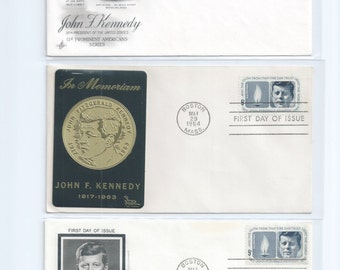 3 Different John F. Kennedy First Day of Issue Cachets, Art Craft and Sarzin May 29 1964 and May 29 1967