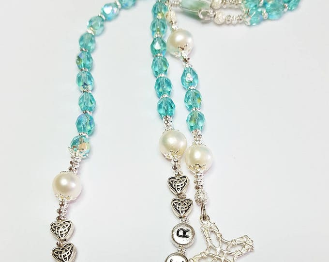 Handcrafted Heirloom Traditional Catholic Rosary ~ Christmas Gift For Mom From Son or Daughter ~ Dainty Rosary with March Birthstone
