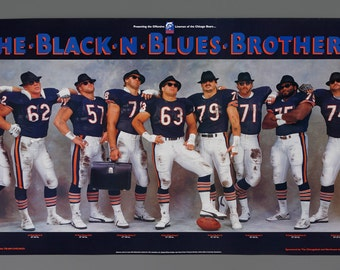 1985 Chicago Bears Black n Blues Brothers Poster Chicago Bears 36 x 20 Size Poster Football WGN Radio Chevrolet