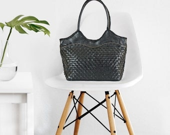 Leather tote bag - black leather bag - leather tote black - leather tote - leather bag women - leather tote zipper - black tote bag - |t|