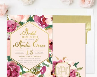 Bridal Shower Brunch Invitation, Burgundy, Blush Pink & Gold, Watercolor Flowers And Monogram, Roses Floral, Party Invite - Amelia