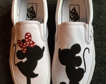Handpainted Mickey and Minnie Mouse Inspired Vans Slip Ons