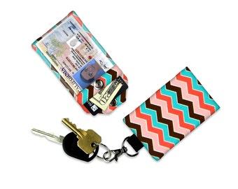 Pink Chevron Mini Wallet Card Holder Pink Keychain Clear ID Holder Small Wallet ID Wallet Minimalist Wallet Student ID Badge Credit Card