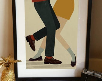 Northern Soul Dancing Mod 1960s Couple Illustration Poster A3