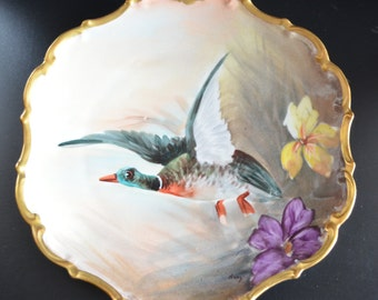 Limoges French Porcelain Hand Painted Game Bird Duck Plate Flambeau Antique Victorian Decor Artist Signed Rene