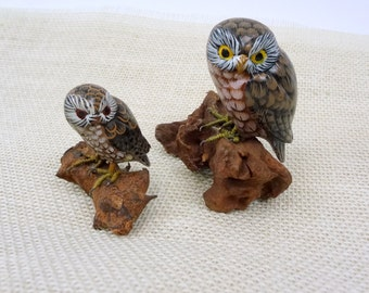 Hand Painted Owls On Wood // Vintage Owl Home Decor // Set Of 2 Owls