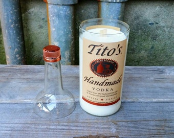 Tito's Vodka Recycled Bottle Soy Wax Candle