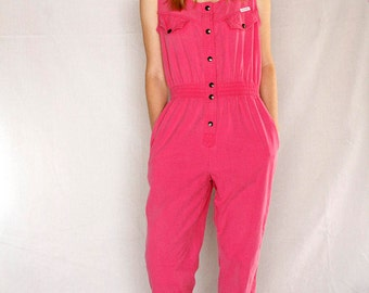 Vintage 80's Hot Pink Cotton Jumpsuit | 1980s Pink Jumpsuit | Pink Sleeveless Cotton One Piece | sz Small