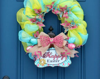 Easter Wreath , Happy Easter Wreath , Welcome Wreath , Front Door Wreath , Pink Aqua Yellow Large Mesh Easter Wreath , Wreath Obsessed