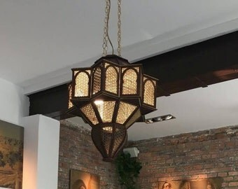 "Wooden Oriental Lamp ""Noor"" for 4 light bulbs (E27)"