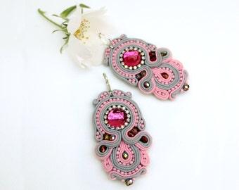 Romantic gifts for her Soutache earrings Gray pink earrings Sister gift Idea for woman Sparkling earrings Pastel jewelry Bohemian earrings