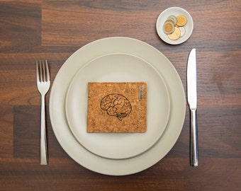 Minimalist Mens Wallet, Cork Vegan Wallet, Unisex Slim Wallet, Brain, Eco Friendly, Natural Cork, Gift for him, vegan wallet, Fathers day