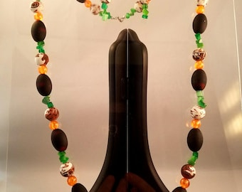 Black and Brown and Green Beaded Necklace and Earrings
