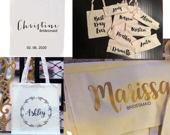 Bridal Tote, Bride Bag, Bridesmaid Tote, Bridesmaid Bag, Personalized Tote, Personalized Name Tote, Wedding Day Tote