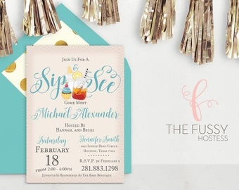 Sip and See Blue Invitation, Baby Shower Invitation, Baby Boy, Baby Shower, Boy, Baby Shower Invitation, Sip n See, Sip and See, Invite