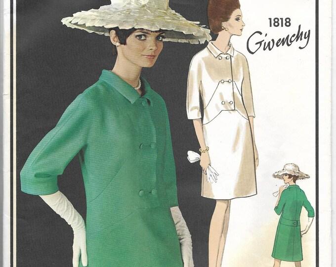 UNCUT 1960s Vogue Paris Original 1818 GIVENCHY Women Fashion Designer Dress Vintage Sewing Pattern Miss Size 12 Bust 32 Hip 34