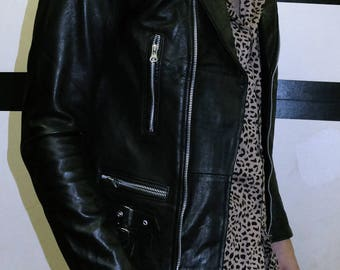 leather biker jacket with buckles black leather jacket skinny fitting